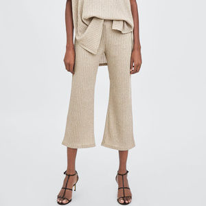 NWT Zara Size M Beige Metallic Knit Culottes